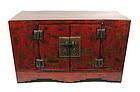 Chinese Red Lacquer Shanxi Table Cabinet, Early 19th C.