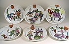 Set of 6 Delightful Toshio Aoki Signed Porcelain Plates