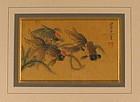 Pair 18th C. Chinese Paintings of Koi