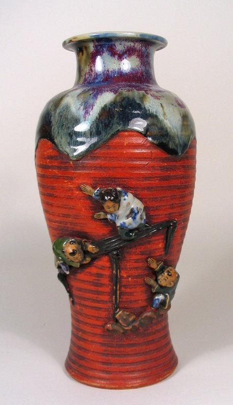 Large Japanese Sumida Gawa Vase