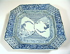 Chinese Blue & White Square Porcelain Plate, Qing