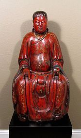 Important 16th C. Chinese Lacquered Wood Taoism Deity