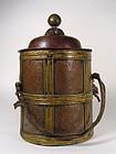 Hand-Tooled, Copper & Brass Tibetan Container, C. 1900