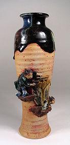 Tall Sumida Gawa Vase, Meiji