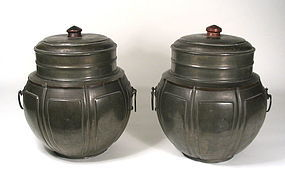 Pair of Large Chinese Pewter Tea Caddies, 19th C.