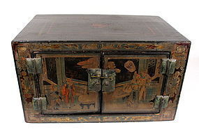 Chinese Black Lacquer Table Cabinet, 18th C.