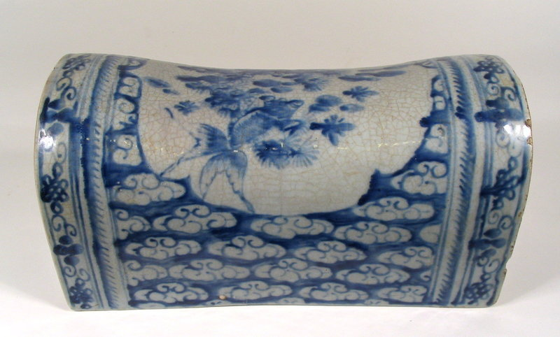 Blue & White Chinese Porcelain Pillow, Qing