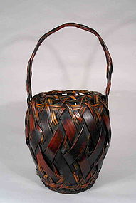 Antique Split Bamboo Japanese Ikebana Basket