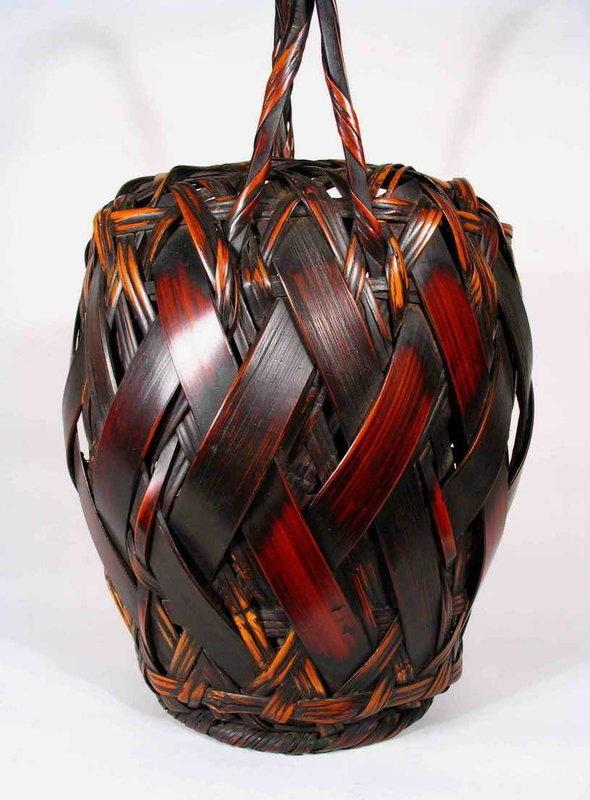 Antique Split Bamboo Japanese Ikebana Basket