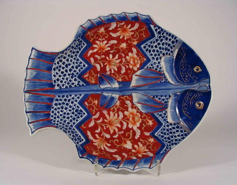 Japanese Imari Double Fish Plate, Meiji