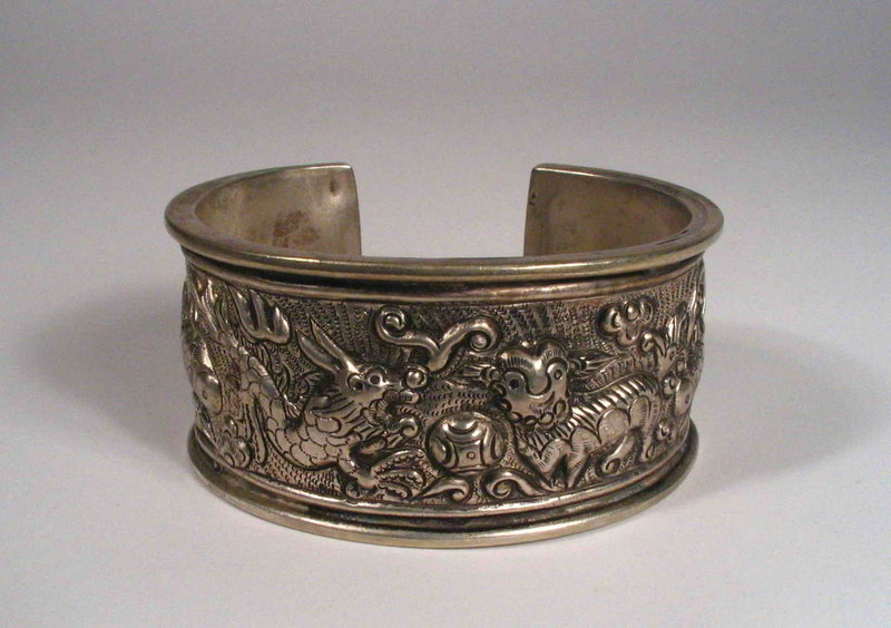 Chinese Silver Repousse Tribal Bracelet