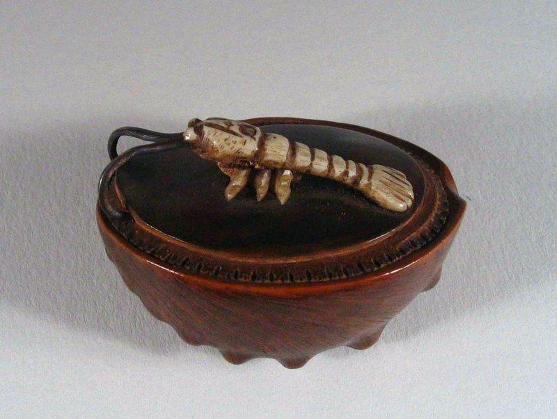 Lobster on Abalone Shell Netsuke, Signed