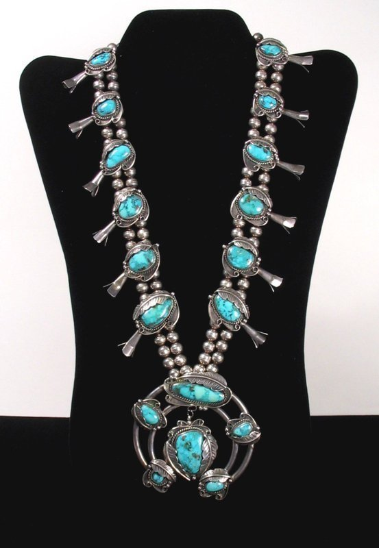 Vintage Navajo Silver & Turquoise Squash Blossom Necklace