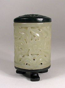 Chinese White and Green Jade Cricket Box