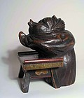 Japanese Wood Mingei Sculpture, Praying Tanuki