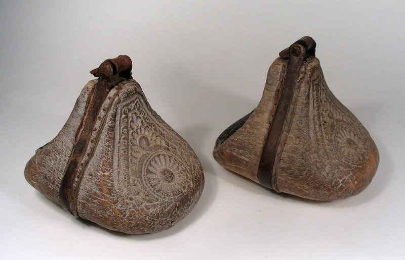 Pair of South American Carved Wood Stirrups, Early 19th C.
