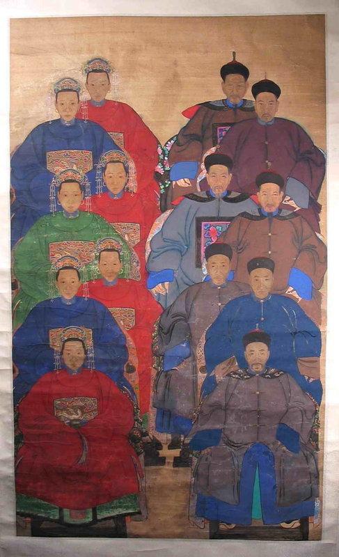 Large Chinese Generational Ancestor Portrait, Qing