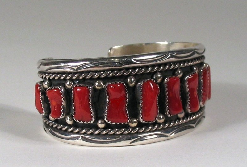 Navajo Sterling Silver and Coral Cuff Bracelet