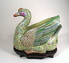 Large, Rare Chinese Export Famille Rose Goose, Qing