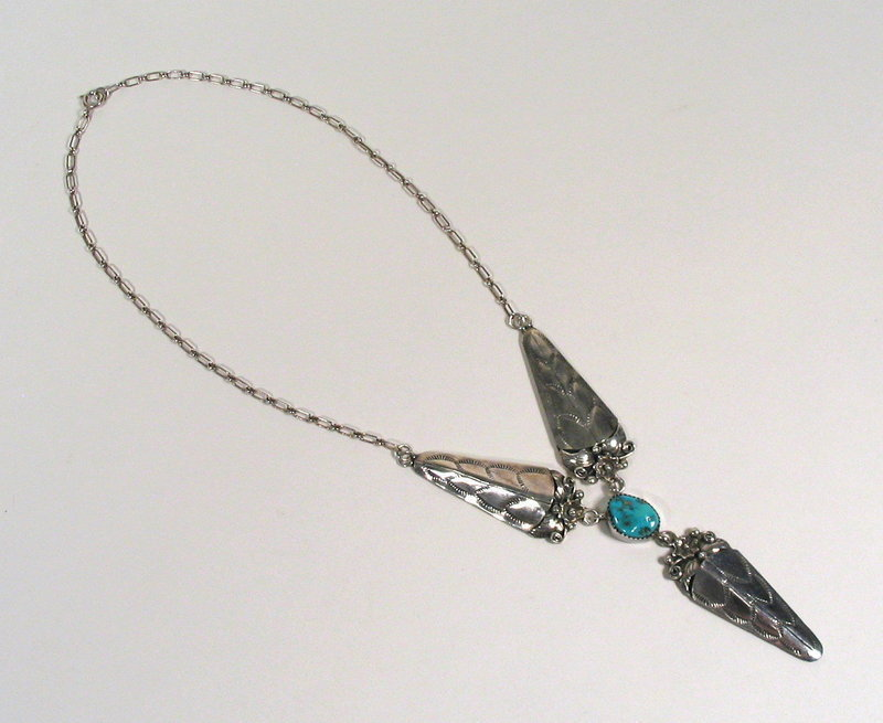 Navajo Sterling & Turquoise Necklace, Signed John Delvin