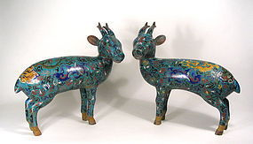 Large Pair of Chinese Cloisonn�© Deer