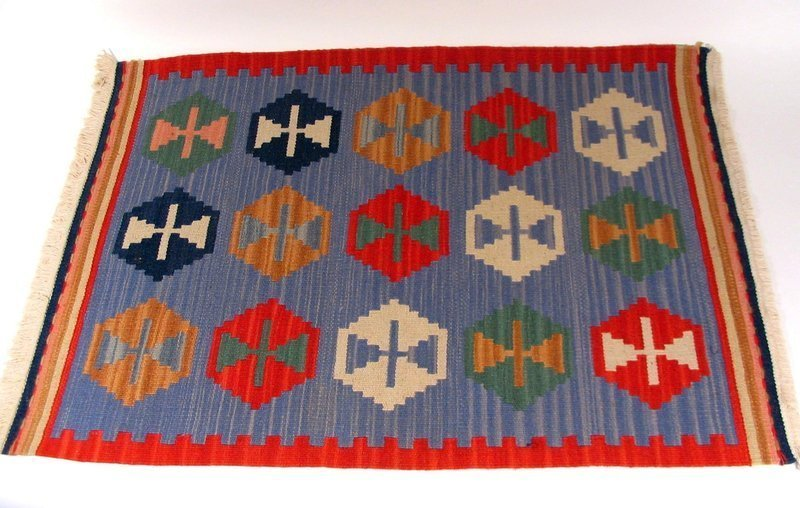 Vintage Hand Woven South American Wool Rug