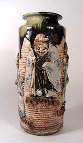 Large Japanese Sumida Gawa Vase, Signed Inoue