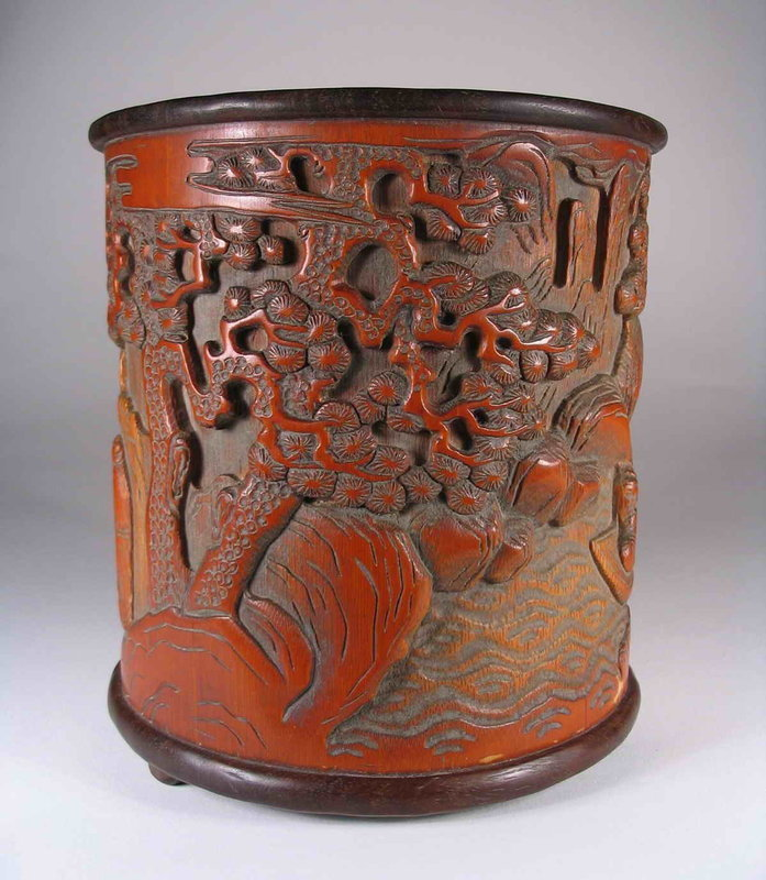 Carved Chinese Scholar�s Bamboo Brushpot, Qing