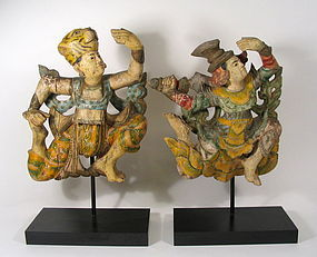 Pair of Antique Carved Dancing Figures from Thailand