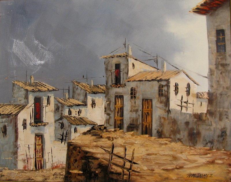 Mexican Adobe Pueblo Painting, Oil on Canvas, R.M Domez