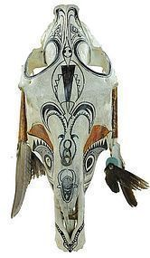Southwestern Painted & Decorated Steer Skull