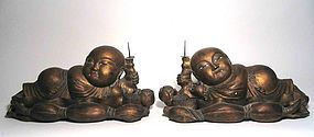 Pair Chinese Lotus Boy Candle Pricks