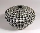 Acoma Black on White Geometric Seed Pot, Signed Viola Ortiz