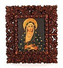 Cuzco School Painting of Virgin Mary in Ornate Frame, 19thC.