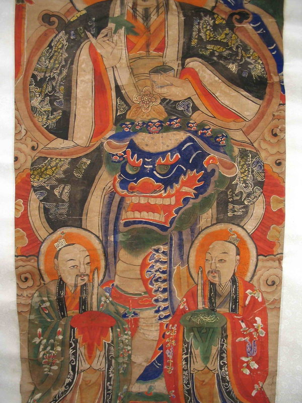 Chinese Scroll Painting of Deity, 19th C.
