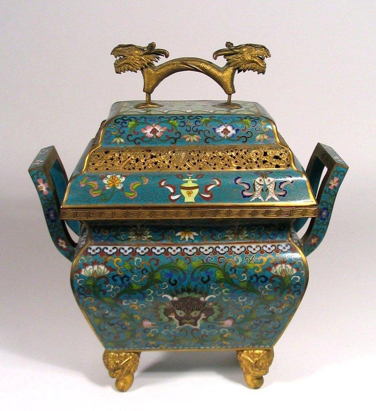 Large, Fine Chinese Cloisonné Censer or Incense Burner