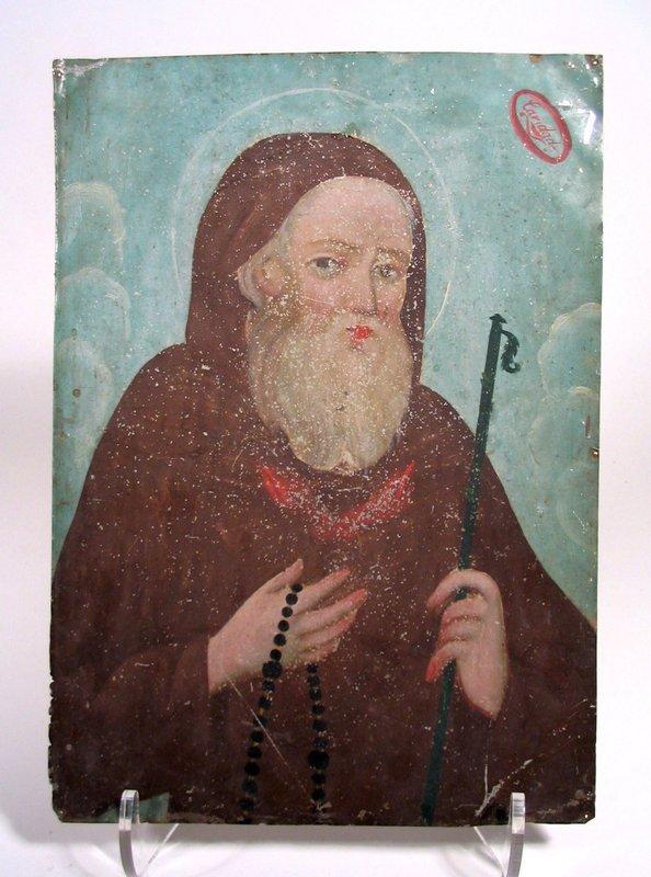 Antique Mexican Retablo, St. Francis of Paola