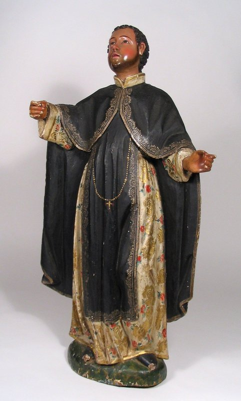 Large 18th C. Peruvian Santo, Saint Martin De Porres