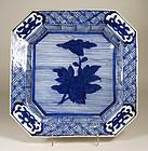 Large, Square B & W Japanese Arita Imari Dish, Edo