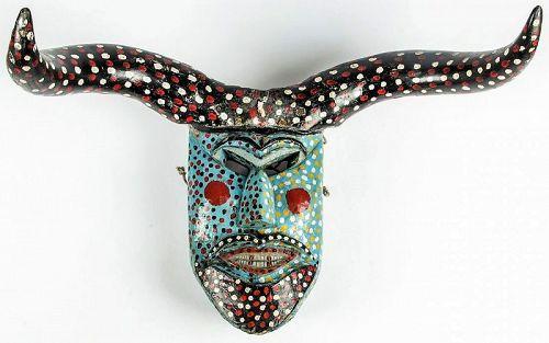 Vintage Mexican Fariseo or Baltazar Semana Santa Dance Mask