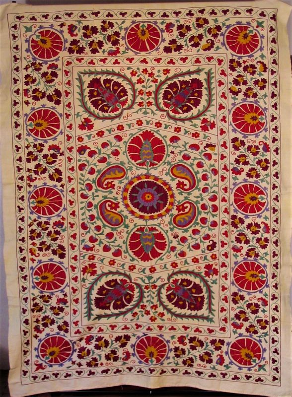Vintage Uzbek Suzani Embroidery
