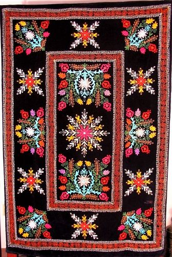 Uzbek Suzani Embroidered Coverlet