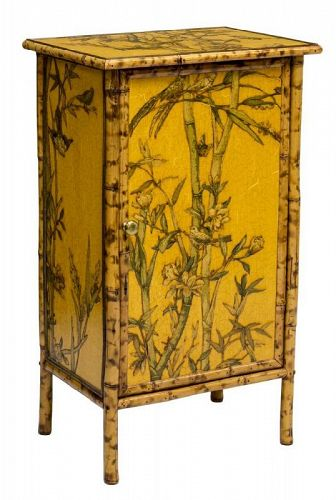 Vintage Yellow Chinese Bamboo Cabinet