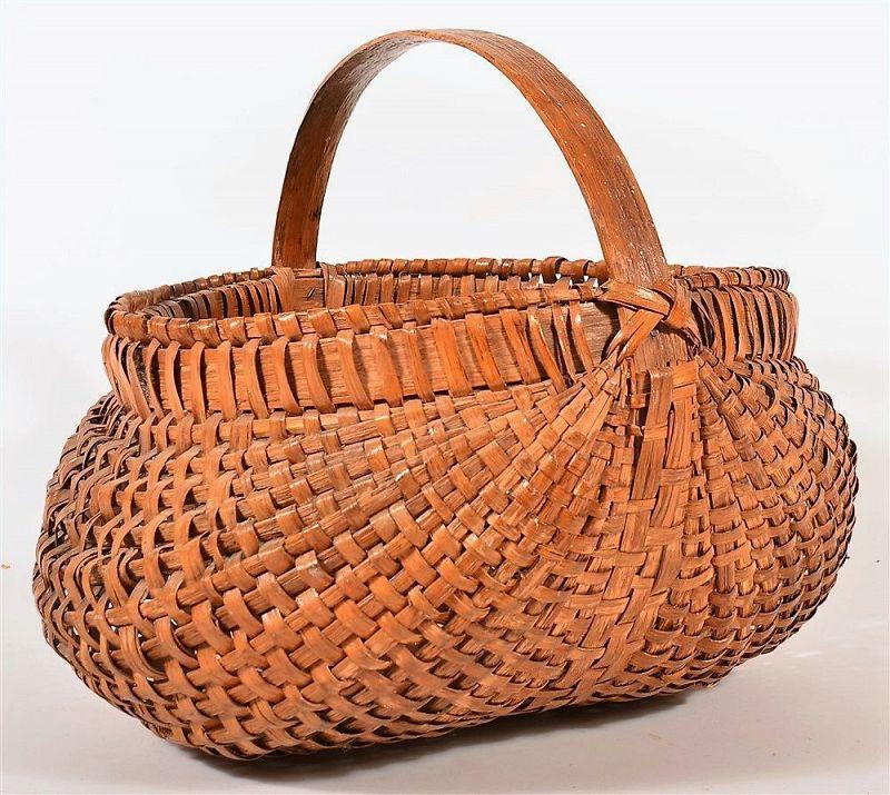 Large Antique Oak Splint Market / Field Basket