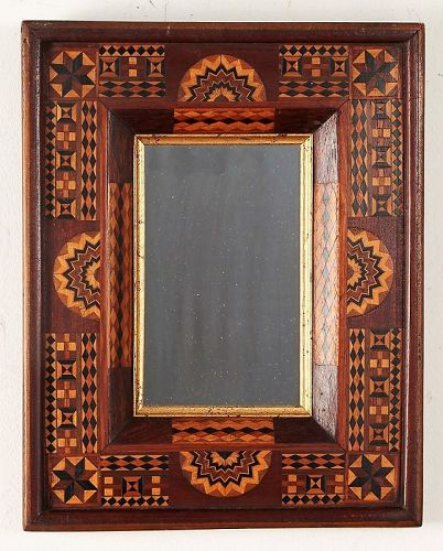 Antique Folk Art Mirror Frame with Elaborate Inlays