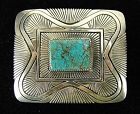 Fabulous Navajo Sterling Silver & Turquoise Belt Buckle, Gibson Nez