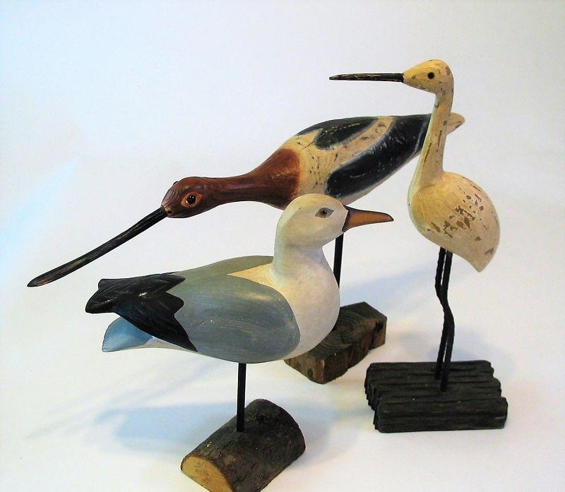 Three Carved Wooden Shore Bird Figures