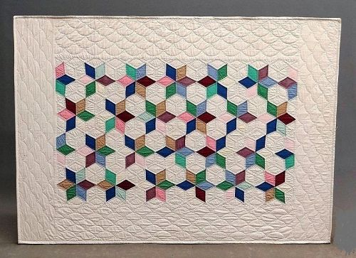 Vintage Crib Quilt, Mounted