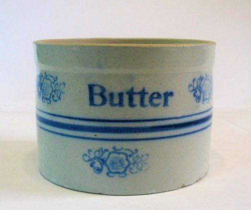 Antique Blue & White Stoneware Butter Crock