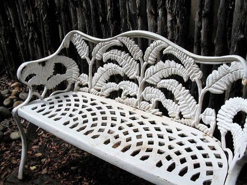 Early Cast Iron Fern Pattern Garden Bench